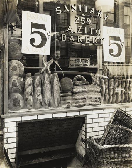 "Berenice Abbott. ""Zito's Bakery, 259 Bleecker Street"" (1937)"