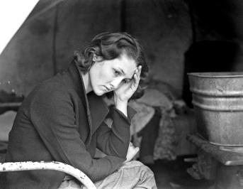 Dorothea Lange Daughter of migrant Tennessee coal miner. Living in American River camp near Sacramento, California, 1936. Dorothea Lange