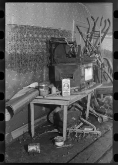 Interior of a farmhouse near Ridgeley, Tennessee, after the 1937 flood waters had subsided walker evans