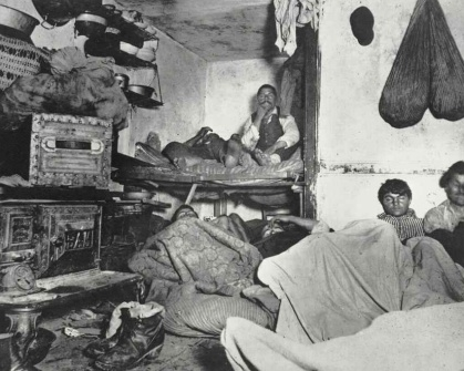 Jacob Riis Lodgers in a Crowded Bayard Street Tenement c1880-90s