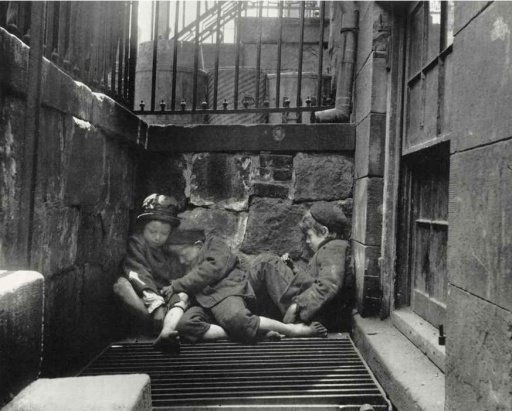 Nomads of the Street Street Boys in Sleeping Quarters c1880-90s. Jacob Riis