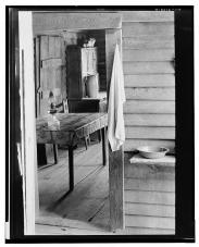 Washstand in the dog run and kitchen of Floyd Burroughs' cabin_ Hale County Alabama Walker Evans
