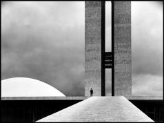 BRAZIL. Brasilia. 1961. The National Congress building by Oscar NIEMEYER.Elliott Erwitt