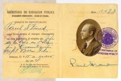 Tarjeta de identificación expedida por la SEP en la que Paul Strand figura como Jefe de la Oficina de Fotografía y Cinematografía del Departamento de Bellas Artes, 15 de enero de 1934