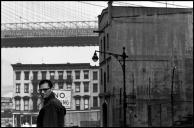 USA. New York City. 1954. American writer Arthur MILLER on the corner of Doughty Street.Elliott Erwitt