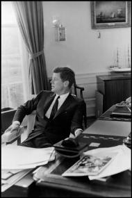 USA. Washington, D.C. 1961. John F. KENNEDY in the Oval Office of the White House.Elliott Erwitt