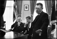 USA. Washington D.C. John F. KENNEDY visits EISENHOWER. James Hagerty on right.Elliott Erwitt