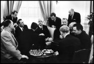 USSR. Moscow. Official trip of the French President DE GAULLE. Reception at the French embassy with Brezhnev 1966.Elliott Erwitt