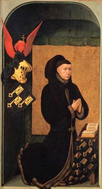 Al reverso del políptico del Juicio Final por Rogier van der Weyden aparece un retrato del canciller Rolin, mecenas de la obra.