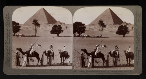 The Great pyramid of Gizeh, a tomb of 5,000 years ago, from S.E. Egypt.%22 Stereograph. NY- Underwood and Underwood, 1908