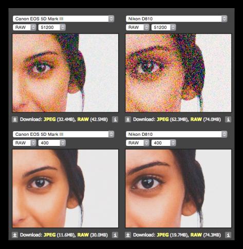Comparación de calidad a diferentes valores ISO entre cámaras Canon 5D Mark III y la Nikon D810 (Cortesía de dpreview.com; haga clic en la foto para agrandar)