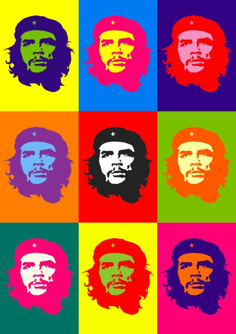 Che por Andy Warhol, apropiación de la estilización de Jim Davis de la fotografía