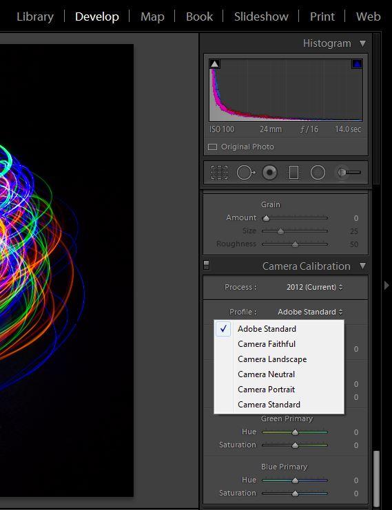 Adobe Lightroom Camera Calibration