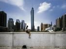 Weng Fen: On the Wall—Guangzhou (II), 2002; color photograph; 49 x 67 in.; Sigg Collection.