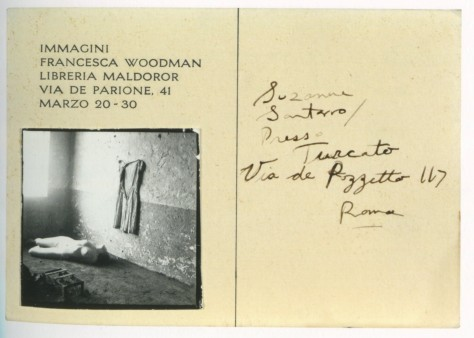 Rome Italy 1978 invitation for the exhibition Immagini fRancesca Woodman in Libreria Maldoror-2