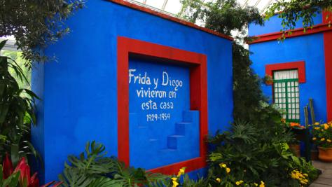 La famosa Casa Azul de Coyoacán, hogar de la familia Kahlo y Calderón, luego residencia de Frida y Diego. Actualmente es el museo Frida Kahlo. Fotografía cortesía de CNN en Español.