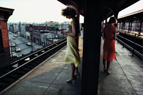 USA. New York City. 1980. Subway platform in Brooklyn.