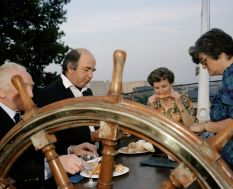 GB. England. Bristol. Conservative Election victory party aboard SS Great Britain. From 'The Cost of Living'. 1986-89.
